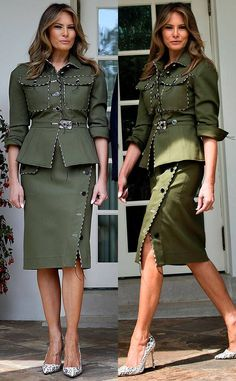 Trump Switches Up Her Style in a Military-Inspired Ensemble - Melania Trump Switches Up Her Style in a Military-Inspired Ensemble Military Inspired Fashion, Military Fashion, Military Style, Melanie Trump, Milania Trump Style, Jessica Parker, Look Fashion, Womens Fashion, Moda Chic
