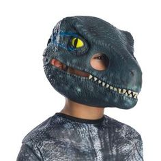 Jurassic World 2 Velociraptor Child Mask with Movable Jaw - 405920   trendyhalloween.com Trendy Halloween, Diy Halloween Costumes, Halloween Masks, Villain Mask, Dinosaur Mask, Purge Mask, Jurassic World 2, Unique Costumes, Skull Mask