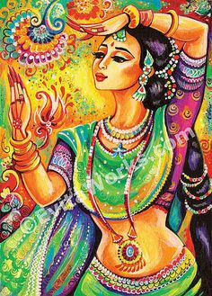 Indian classical dance art, Indian decor, beautiful Indian woman painting, wall…