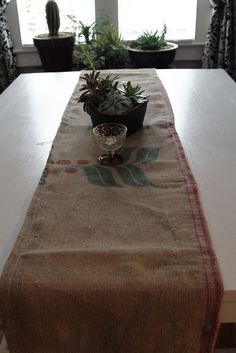 Black And White And Loved All Over: Coffee-Bean Sack Table Runner