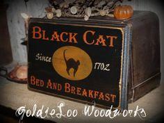 Primitive, Folk Art ,Halloween, Black Cat Bed & Breakfast wall sign. $18.00, via Etsy.