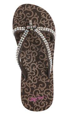 54e45c6935e3 M amp F Blazin Roxx Ladies Hayley Brown Double Strap Clear Cross Sandals  Cute Flip Flops
