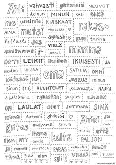 Perhe - Värinautit Finnish Language, Live Love, Kindergarten, Printables, Math Equations, Teaching, School, Cards, Scrapbooking