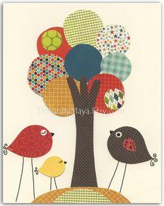 Baby boy Nursery art print, play room art, baby room, BABY decor,  baby birds under the tree, red, brown, teal, sage green, orange, yellow. $17.00, via Etsy.