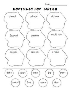 Green Eggs And Ham Contraction Match Freebie