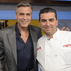 Cake Boss - Buddy Valastro and George Clooney on set of Good Morning America Cake Boss Buddy, Carlos Bakery, Buddy Valastro, Master Baker, Cake Show, Lord Of Hosts, Stud Muffin, Good Morning America, George Clooney
