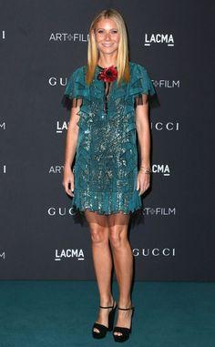 Gwyneth+Paltrow+from+Stars+at+2015+LACMA+Art+++Film+Gala  The+actress+dons+a+teal,+ruffled+chiffon+Gucci+mini.