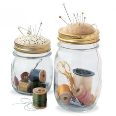 Upcycling Crafts with Jars // Sewing Kit in a Jar How-To