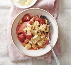 of fruit? Turn your bounty into a pretty pink pud with crunchy almond ...