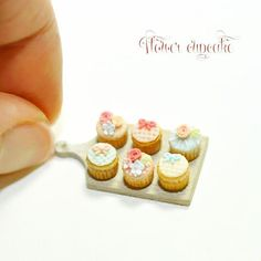 These cupcakes were so much fun to make. カップケーキ作りはデコレーションが一番の楽しみです  #ミニチュア #ドールハウス#粘土 #シュガークラフト #カップケーキ #ミニチュアスイーツ #デコレーション #ハンドメイド #クラフト#手作り #miniature #dollhouse #handmade #miniaturesweets #tiny #clay #miniaturecupcake #miniaturefood #cupcakes #flowercupcakes