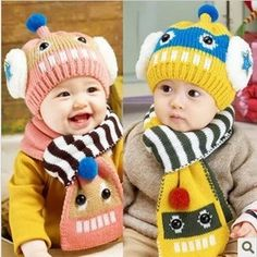 Autumn   Winter Baby Hat and Scarf Lovely Robot Jacquard Knitted Beret for  Kids Neck Warmer Infant Girls Boys Cartoon Caps -in Hats   Caps from Mother  ... 783f85b7ef1a