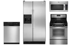 Whirlpool Stainless Steel Side by Side Refrigerator Appliance Package with Gas Range