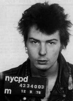 "Sid Vicious mugshot. Back in 1978, the Sex Pistols' frontman was arrested in New York. This black and white punk rocker mugshot makes the ""shocking"" list if only for the severity of the charge—the murder of his girlfriend, Nancy Spungen. Four months later, before the trial could take place, Vicious overdosed on heroin, and died. 9 Outrageous Musician Mugshots - Instant Checkmate http://blog.instantcheckmate.com/9-outrageous-musician-mugshots/#"