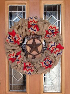 Red Burlap Wreath Natural Blue and Red by SignsBYDebbieHess, $69.00