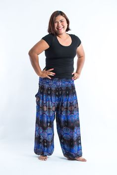 Plus Size Paisley Women's Harem Pants in Blue