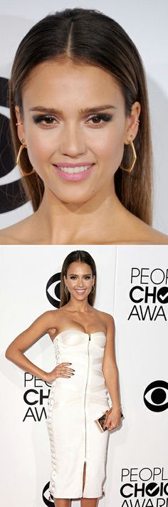 Jessica Alba in Jason Wu at the People's Choice Awards. Styling by Emily and Meritt. Makeup by Monika Blunder for Lancome.
