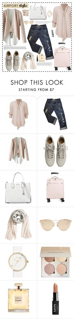 """Wanderlust Wonderful: Airport Style"" by mossoo ❤ liked on Polyvore featuring J Brand, Fear of God, MICHAEL Michael Kors, Serapian, Balmain, Christian Dior, Topshop, NYX, Choies and airportstyle"