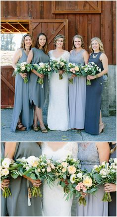 Bridal party in shades of grey, mismatched styles, light grey and charcoal grey bridesmaid dresses, pastel floral wedding bouquets // Megan Clouse Photography