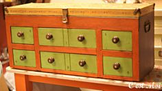 Gypsy chest painted in Arles, Barcelona Orange and Antibes Green Chalk Paint® decorative paint by Annie Sloan | By Stockist C'est Moi of Brentwood, TN