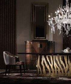 Get inspired with the most daring design ideas you will be able to see at Paris Design Week 2017 Luxury Decor, Luxury Interior, Room Interior, Home Interior Design, Luxury Dining Room, Dining Room Design, Dining Rooms, Modern Dining Table, Dinning Table