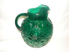 Forest Green Depression Glass Pitcher by Anchor Hocking