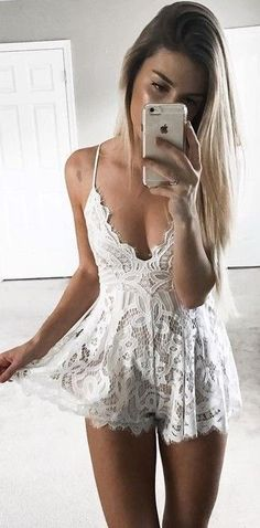 #summer #young #outfits |  White Lace Playsuit