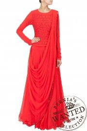 Red thread and bead work corset with lehenga J by Jannat