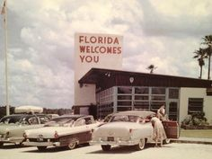 """During the 1950s, when you crossed the border into Florida, they had """"Welcome"""" stations offering visitors a glass of """"fresh squeezed"""" Florida orange juice.  It was a """"must stop"""" for all road travelers.  (As I recall, they had state maps, too, and other visitor information.)"""