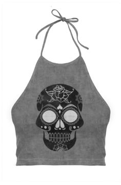 Black Grunge Sugar Skull Halter Top. The Halter top features a high neck that is fastened with adjustable ties. The back of this shirt dips low to the mid back and the hem of this shirt falls at the waist. #haltertop #fashion #skull
