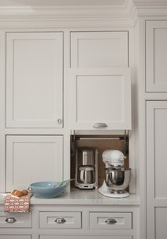 Something like this to house the coffee maker and other appliances that we want easily accessible yet hidden.