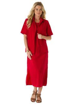 Peachskin Shift Jacket Dress   Plus Size Business Meeting   Roamans