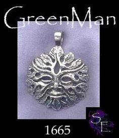 Bailed Greenman Pendant, Sterling Silver