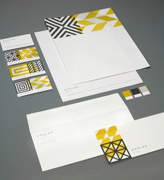 Work of Eight Hour Day. Identity for Engler Studio. Great use of overlapping patterns, perfect for a interior design firm.