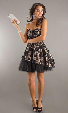 Short Strapless Dress with Floral Embellishments