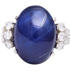 1stdibs.com   Cabochon Sapphire Diamond  Ring