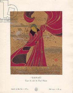 Danae by Charles Martin - 'Cape du soir de Paul Poiret', plate 47 from 'Gazette du Bon Ton', Volume I, no.5, May 1914, pochoir print, 25.4x19.1 cm, Museum of Fine Arts, Boston, Massachusetts, USA