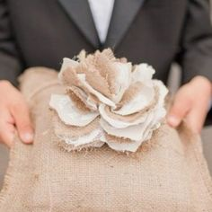 Burlap ring pillow, bride and groom signs and more!