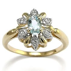 Yellow Rose or white Gold Diamond & Aquamarine Ring Russian Jewelry
