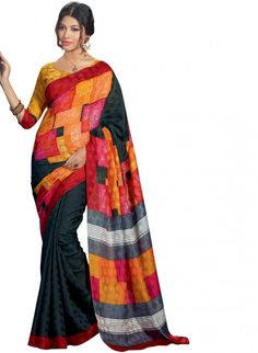 Black Bhagalpuri Silk Saree