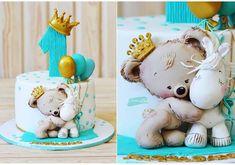 Trendy Ideas Birthday Cake Decorating Ideas For Boys Tutorials Baby Shower Cakes For Boys, Baby Boy Cakes, Baby Boy Shower, Fun Cupcakes, Cupcake Cakes, Nake Cake, Teddy Bear Cakes, Bolo Cake, Baby Birthday Cakes
