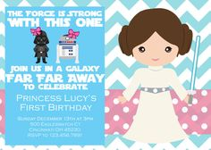 Girl Star Wars Birthday Party Invitation by EmilyPowellDesigns