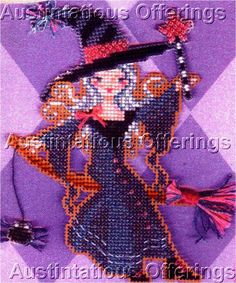 Halloween Witch Sisters Bead CrossStitch Kit Brooke Books Fiona - Brooke Nolan
