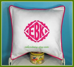 The Veronique Applique Framed Monogrammed Pillow by calicodaisy, $68.00 #monogram #bedroom