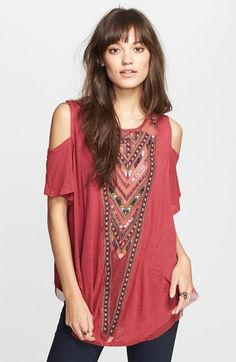 Free shipping and returns on Free People Embroidered Mesh Top at Nordstrom.com. A sheer mesh panel with vivid geo print embroidery adds global flavor to a short-sleeve cold-shoulder top further embellished with a cutout back and a flouncy hemline.