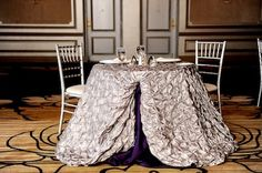 Precious Metals from IDoLinens.com // Table linen #idea for memorable in-suite celebration, made spectacular!