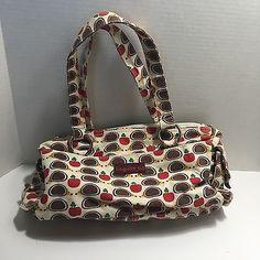 Bungalow 360 Hedgehog Apple Satchel Purse Vegan Cotton Natural Canvas Hand Bag