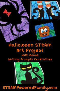 Get your elementary students ready for Halloween this year with this Halloween Art and Math STEAM Project that includes bonus writing prompts craft. Perfect for a classroom, this project includes 11 original designs for Halloween, plus you can access a bonus free design to test it out! Challenge students to embrace Math Art this Halloween using gorgeous designs, a ruler and a protractor to ignite their imaginations. #Halloween #HalloweenArt #HalloweenMath #HalloweenSTEAM #STEAMActivities