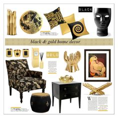 """Black & Gold"" by jelenamaks ❤ liked on Polyvore featuring interior, interiors, interior design, home, home decor, interior decorating, Pier 1 Imports, Driade, Baobab Collection and L'Objet"