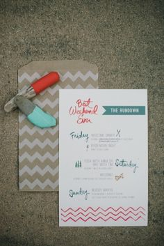 """""""best weekend ever"""" details for bridal party."""