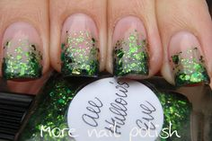 """Glitter gradient over natural nails done with Lynnderella's """"All Hallow's Eve"""""""